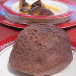 Brown ugali made of millet flour