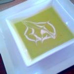 Cold but tasty avocado soup. Loved the culinary surprises!