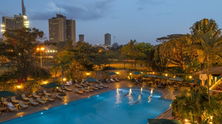 The pool at Nairobi Serena, with the city's grand view as a backdrop. Refreshing after a day's hustle