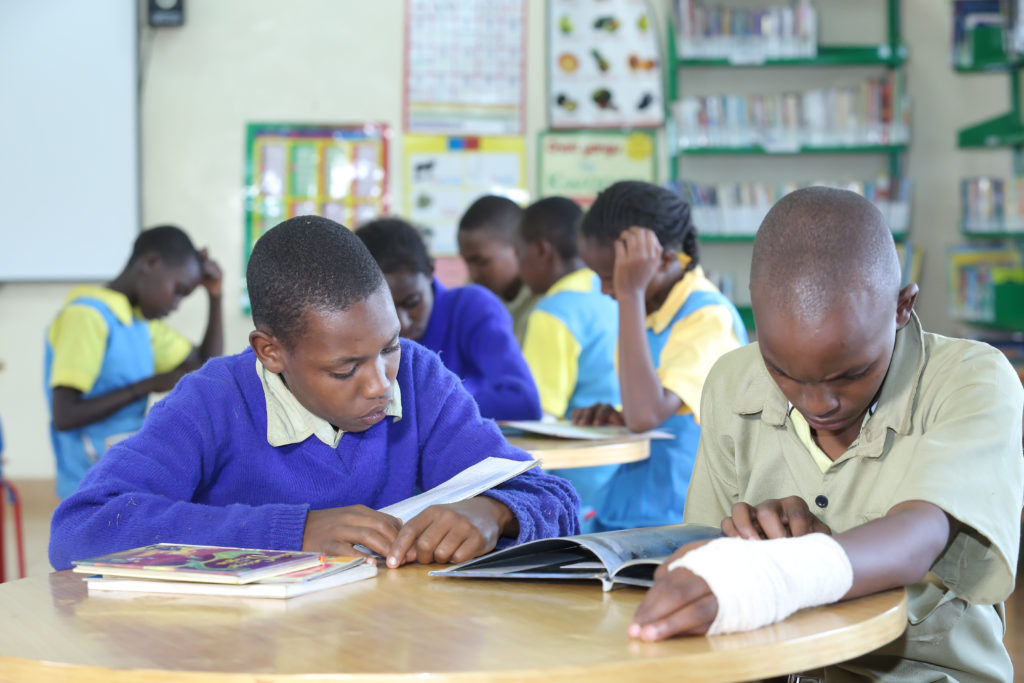 Pupils of Lewa Downs Primary School study in their new classroom constructed and funded from the proceeds of the annual Lewa Marathon