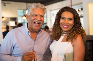 Dinesh Shah from Porcelanosa and Myriam Sidibe at the Le Grenier Launch on Saturday