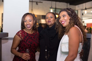 (L-R) Myra Kivuvani, Director - Special occasions cakes, Foreign Affairs CS Amina Mohammed and Myriam Sidibe Unilever social mission director at the Le grenier a pain launch on Saturday